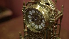 Vintage golden clock Stock Footage