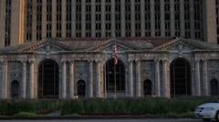 Close Up Shot of Michigan Central Station Entrance Stock Footage