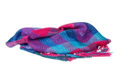 Colourful handmade neckwear or scarf of woolen knitted fabric texture - stock photo
