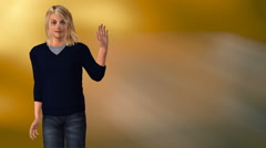Young woman waving left of frame Stock Footage