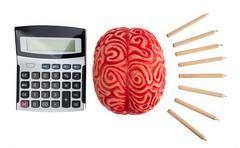 Concept of brain hemispheres between logic and creativity. - stock photo