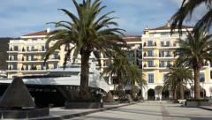 Luxury hotel, yachts and snowy mountains - stock footage