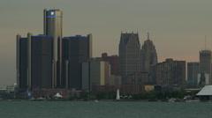 Detroit Skyline including General Motors building Stock Footage