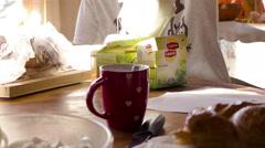 Tea on table - stock footage