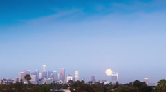 Time Lapse - Super Moon over Downtown, Los Angeles Stock Footage