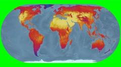 NEO - Land Surface Temperature. Bathy. Eckert IV. Rotating Stock Footage