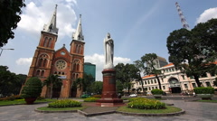 Saigon Notre-Dame Cathedral and Central Post Office, Ho Chi Minh City, Vietnam Stock Footage