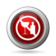 No alcohol icon. Internet button on white background.. - stock illustration