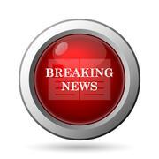Breaking news icon. Internet button on white background.. - stock illustration