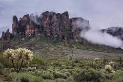 Base of the Superstition Mountains at the Lost Dutchman Mine - stock photo