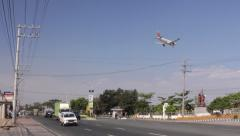 Airplane Approaches Manila Airport 01 - stock footage
