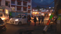 Street in evening at Leh in Ladakh, Jammu and Kashmir, India Stock Footage