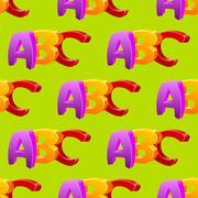 Childlike doodle ABC seamless pattern, flat design - stock illustration