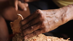 Wood Carver on Pohnpei Stock Footage