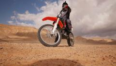 Motocross desert emergency stop 4K 1 Stock Footage