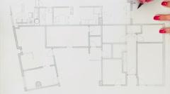Sketching interior design plan - stock footage