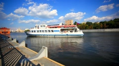 Moscow river cruise boat. HD. 1920x1080 Stock Footage