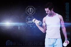 Stock Illustration of Composite image of fit young man exercising with dumbbells