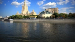 Tour on sunny day across Moscow, Russia. Panorama from ship sailing. HD Stock Footage