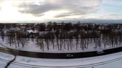 Aerial footage, winter road traffic Stock Footage