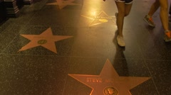 Hollywood Walk of Fame with stars, Los Angeles, California - stock footage