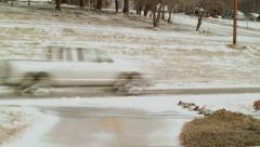 truck drives in slush - stock footage