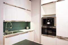 Stock Photo of Bright white kitchen interior