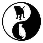 Yin Yang Dog Cat - stock illustration