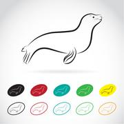 Vector images of sea lion on a white background - stock illustration