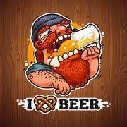 Man Loves Beer Stock Illustration