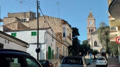 Spain Mallorca Island small town Porto Cristo 028 street at hillside with church Stock Footage
