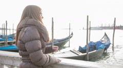 Happy person enjoying time in Venice Stock Footage