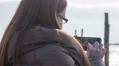 Taking photos of gondolas in Venice with smartphone Stock Footage