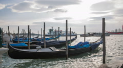 Venice gondola in wavy seascape scene Stock Footage