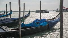 Parked Venice gondola close up Stock Footage