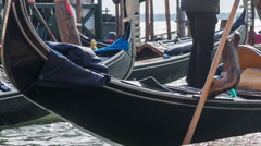 Operating gondola in canal Stock Footage