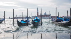Venice gondolas before a weather storm Stock Footage