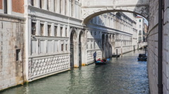 Old buildings in water canals of Venice Stock Footage