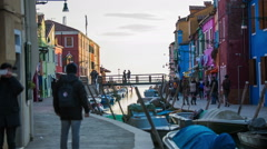 Colorful buildings with water canal in Burano Stock Footage