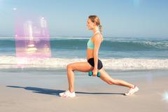 Composite image of fit woman doing weighted lunges on the beach - stock photo