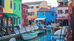 Burano exterior colorful buildings and water canal Stock Footage