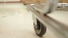 Shopping Cart Low Angle One Wheel Stock Footage