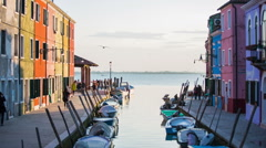 End of Burano water canal in to open seascape Stock Footage