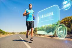 Stock Illustration of Composite image of athletic man jogging on open road holding bottle