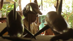 Stock Video Footage of Wood Carver on Pohnpei