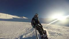 Snowboard slow motion, POV, hight speed carving, gopro Stock Footage