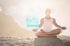 Stock Illustration of Composite image of blonde woman sitting in lotus pose on beach