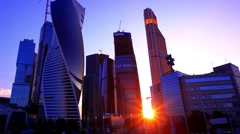 Beautiful evening view of famous skyscrapers in Moscow City international Stock Footage