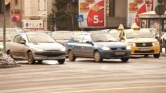 Dusk Evening Traffic Parking Bucharest Romania Stock Footage