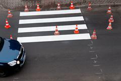 Painting of pedestrian crossing Stock Photos